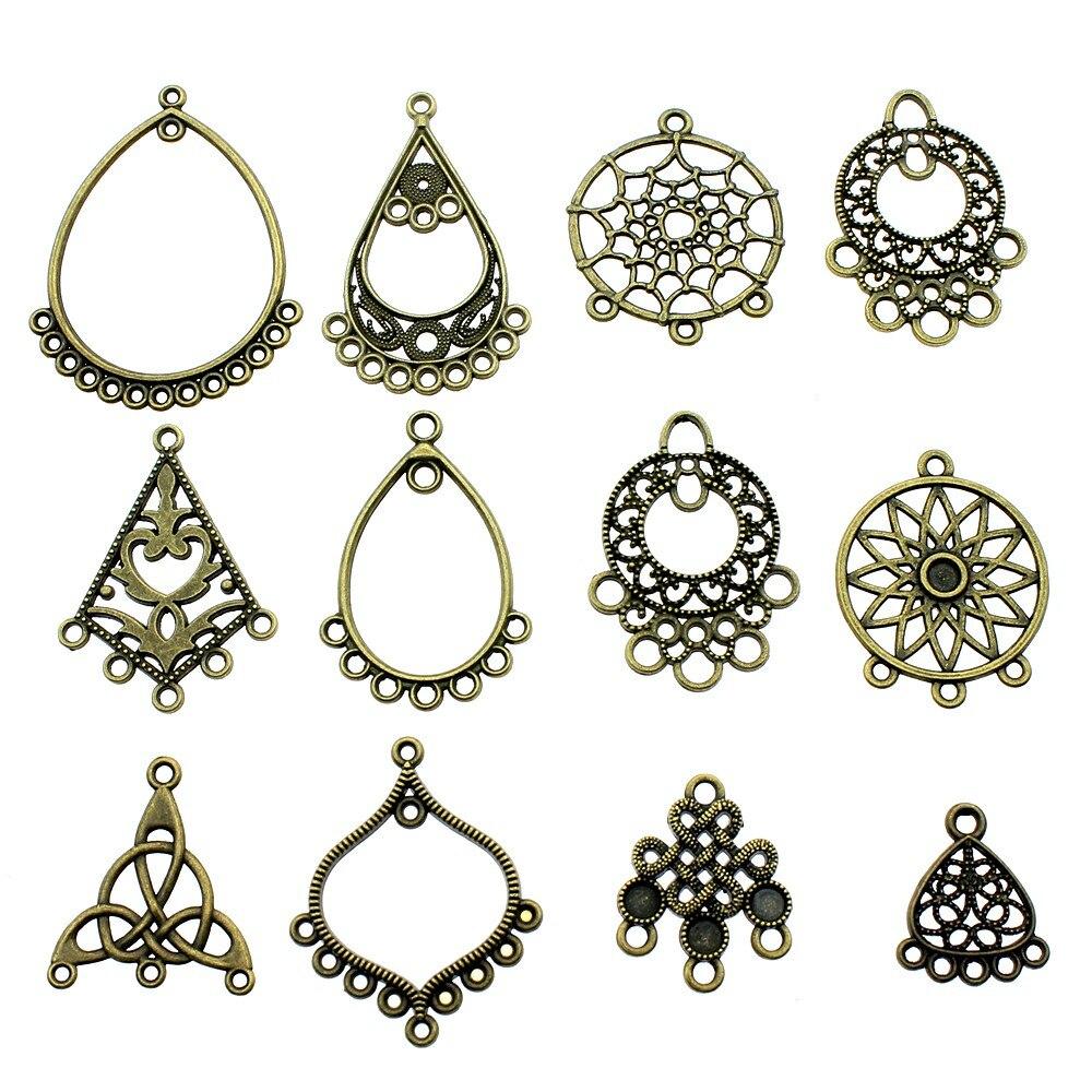 10pcs Charms Dreamcatcher Vintage Antique Bronze Color Earring Connector Charms Pendants Jewelry Accessories