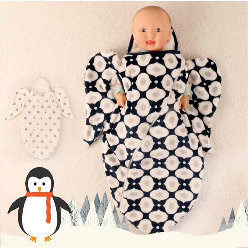 Baby Blanket Envelope Swaddle Winter Wrap Coral Fleece Newborn BlanketSleeper Infant Stroller Wrap Toddlers Baby <font><b>Sleeping</b></font> Bag
