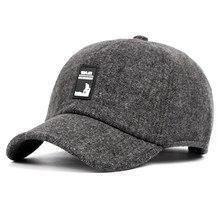 Men's Warm Winter Hat Fashion Thick Woolen Baseball Cap Old Men Leisure Simple Hooded Male Bone Snapback Tongue Caps Dad's Hat стоимость
