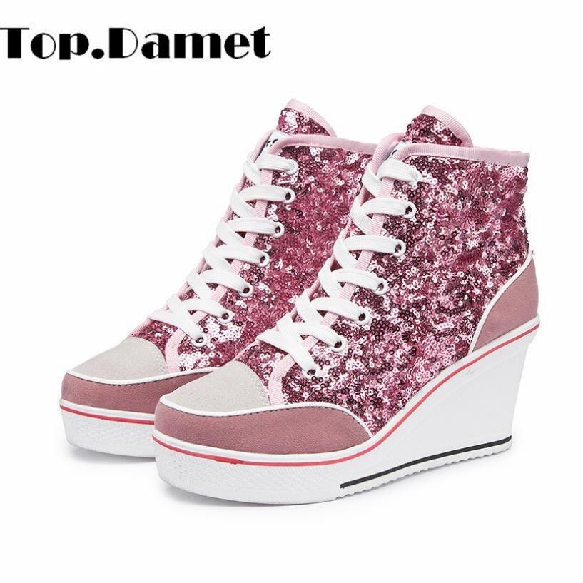 Top. damet Sneakers Femmes Occasionnels Haut Talon Plate-Forme Chaussures Lace Up Respirant Weges Haute Top Bling Toile Chaussures Filles Plus La Taille