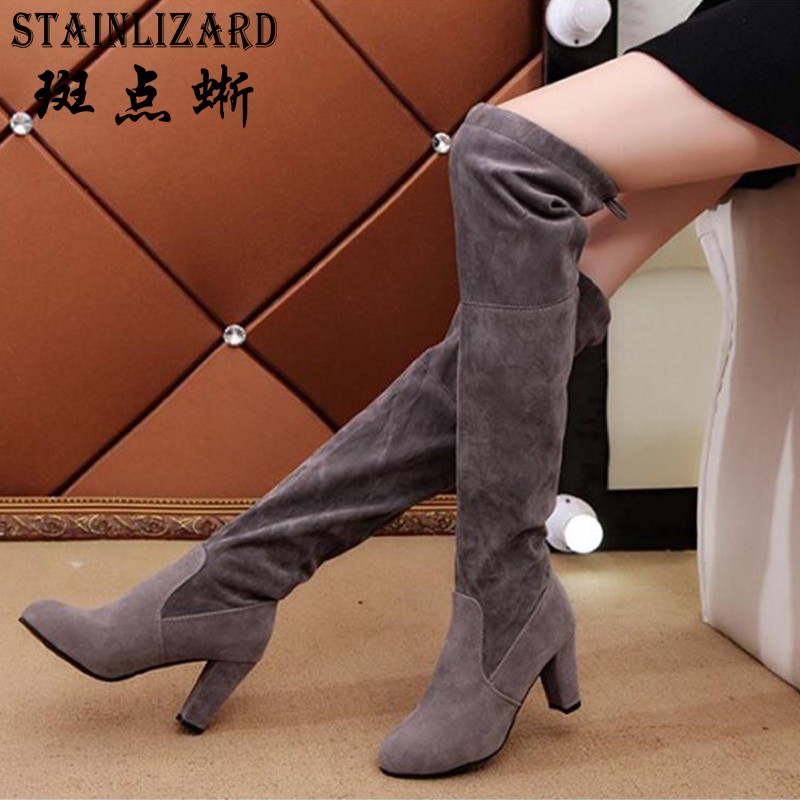 STAINLIZARD Over-the-Knee Boots Shoes Women Boots Footwear Winter High Heels Women Solid Female Boots Plus Size 35-43 HDT1047 the explosion of the classic all match solid colored body hip high elastic denim pants feet female winter bag mail