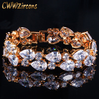 CWWZircons Top Quality Sparkling Cubic Zirconia Yellow Gold Color Big Wide Wrap Bracelets Bangles For Brides Wedding Party CB116