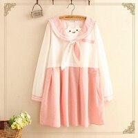 Japanese Pink Rabbit Bow Sailor Color Kawaii Dress Women Spring Autumn Sweet Embroidery Patchwork Long Sleeve