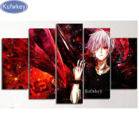 5pcs Cartoon Picture Diy Diamond Painting Square Drill Diamond Embroidery Mosaic Modern Anime Movie Home Decoration