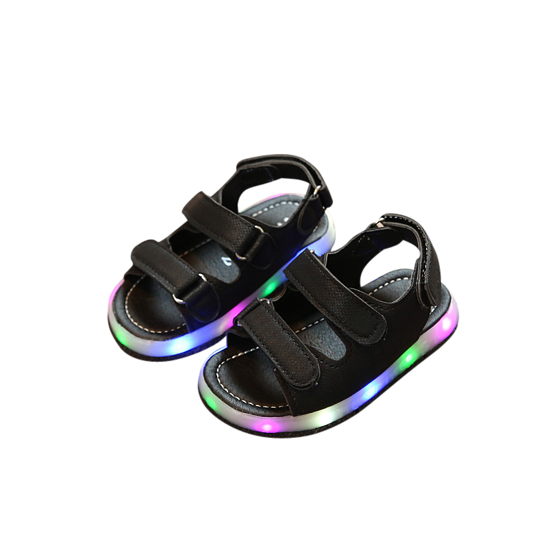 Kids Sandals With Light 2017 Summer Childrens LED Light Shoes Boys sandals Beach Shoes Girls Soft Bottom Baby Boys Sandals ...