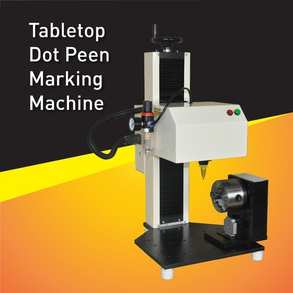 China Easy Use Pneumatic Serial Number Marking Machine Dot Peen Marker With Rotary Fixture for part