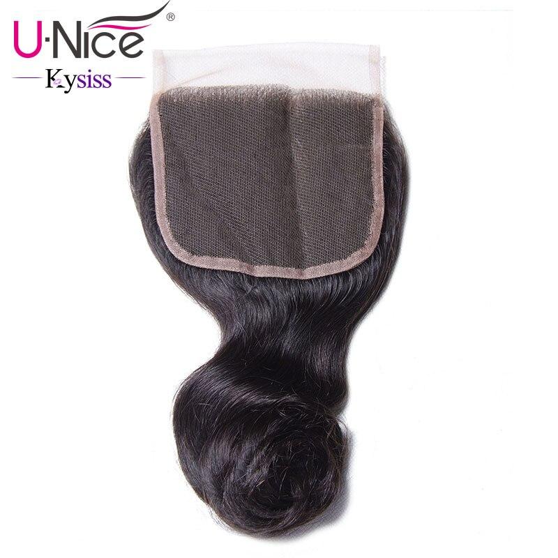 Unice Loose-Wave-Closure Kysiss Virgin-Series Swiss Malaysian 4-Free-Part 120%Density
