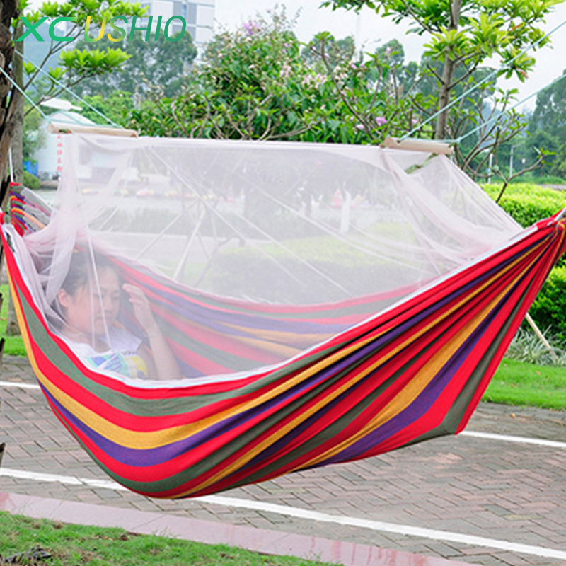 High Strength Colorful Canvas Hanging Tent 1 Person Portable Outdoor Camping Hammock with Mosquito Net 300kg Max LoadingHigh Strength Colorful Canvas Hanging Tent 1 Person Portable Outdoor Camping Hammock with Mosquito Net 300kg Max Loading