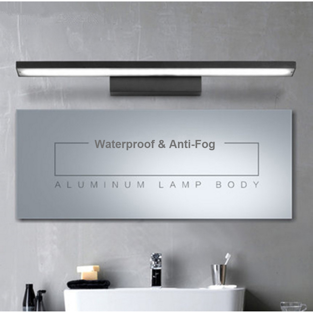 ФОТО LED Mirror Front Light 8W 12W Waterproof Anti-Fog Bathroom Wall Light Creative Modern Brief Aluminum Bedroom Wall Lamp 40cm/60cm