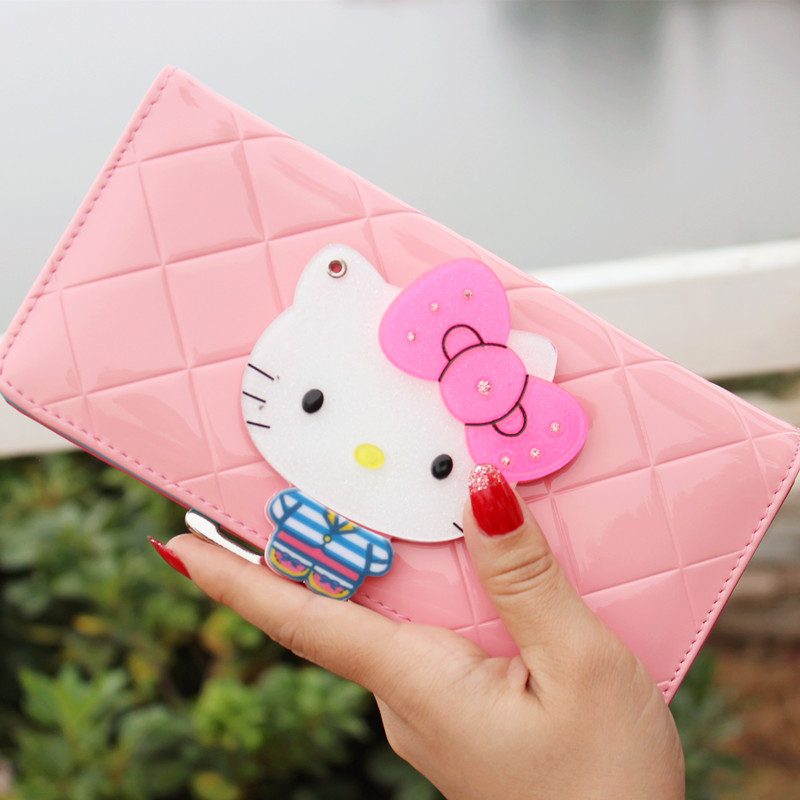 Women female bow famous brand designer hello kitty leather long  wallets purses carteira feminina couro portefeuille femme 40 сувенир со звездами кино и эстрады sheldon