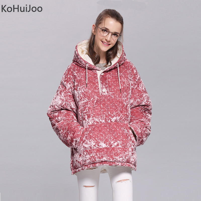 KoHuiJoo Female Winter Hooded Duck Down Jackets Zipper Solid Loose Thick Warm Padded Coat for Women Velvet Coats Fashion Parkas 2017 winter women slim duck down jackets female long hooded coat parkas solid thicken warm casual fashion padded coats plus size
