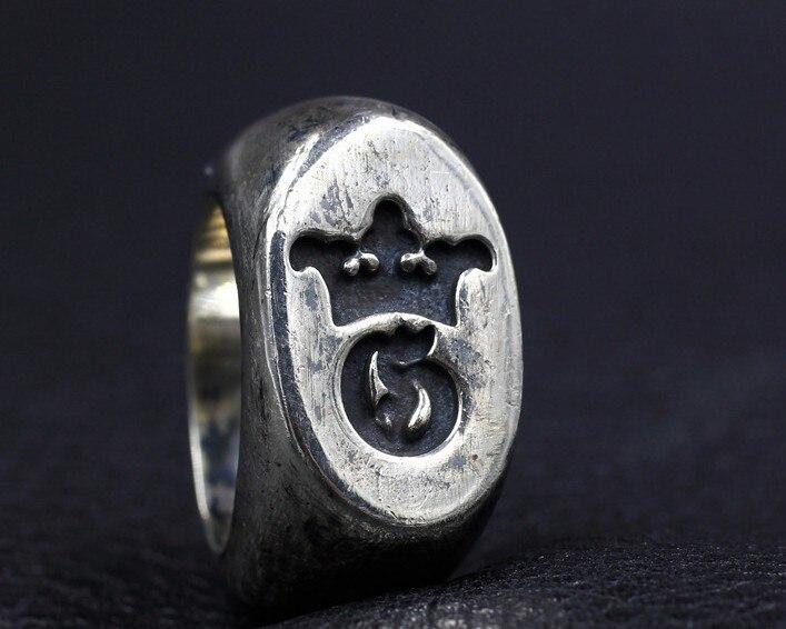 Кольцо из стерлингового серебра 925 пробы с ручной резной тяжелой доминацией для американских мужчин