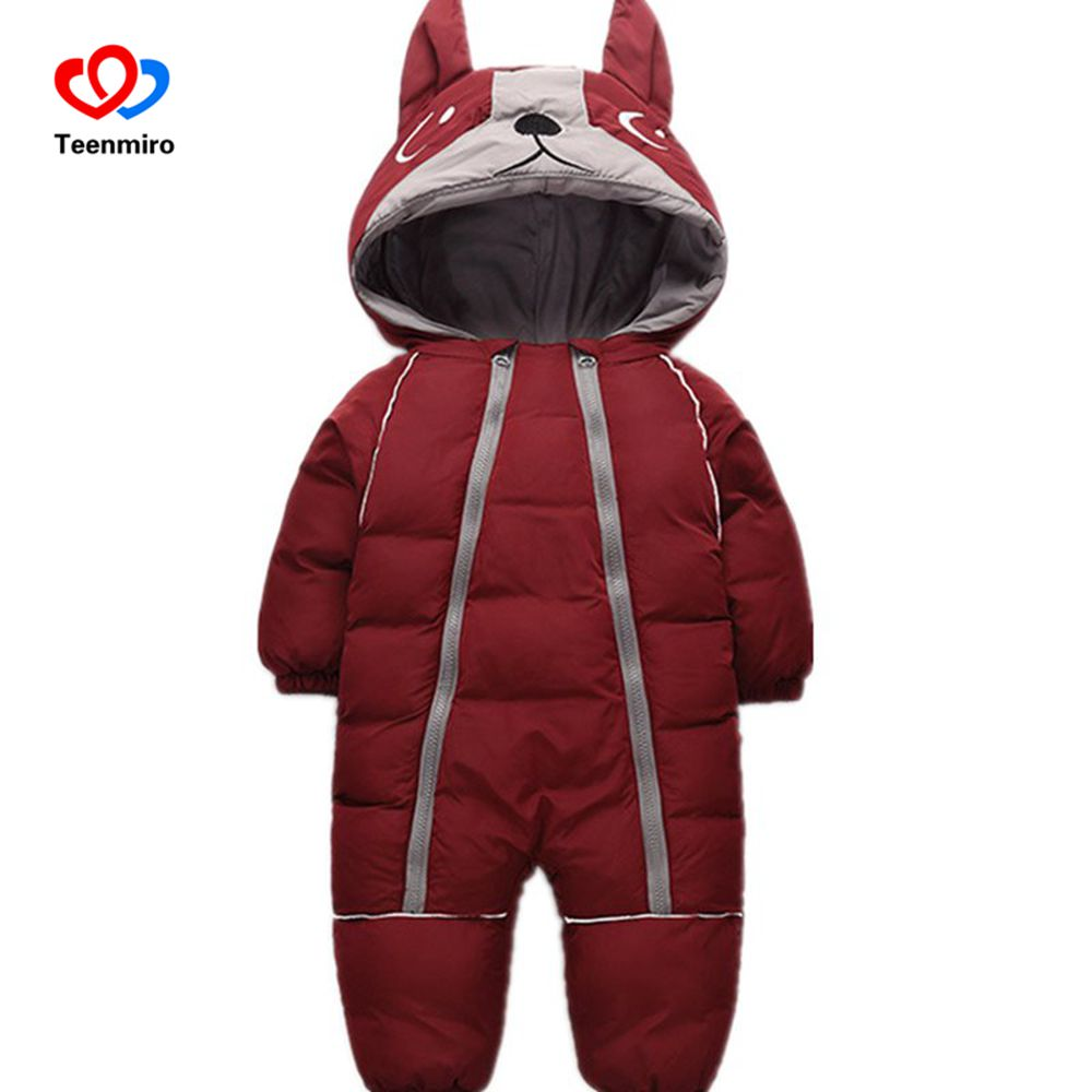 Baby winter clothes cartoon dog Thick Warm toddler boy girl romper Hooded Jumpsuit children snowsuit down Kids clothing new 2018 baby winter clothes cotton thick warm hooded baby jumpsuit newborn baby boy girl romper children snowsuit down clothing