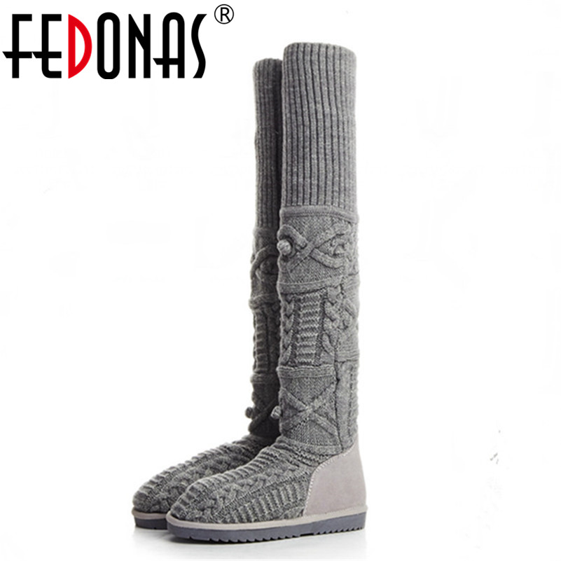 FEDONAS Brand Women Autumn Winter Flats Heel Shoes Woman Fashion Over The Knee High Boots Wool Stretch Long Warm Snow Boots