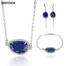 ShinyGem AA+Lapis Lazuli 3 Pieces Jewelry Sets Natural Stone Bridal For Women Fashion Gem Wedding Set