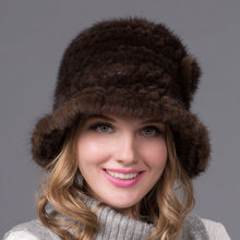 New autumn and winter real fur hat female braided natural mink fur hat warm female knitted soft top hat high quality BZ-13(China)