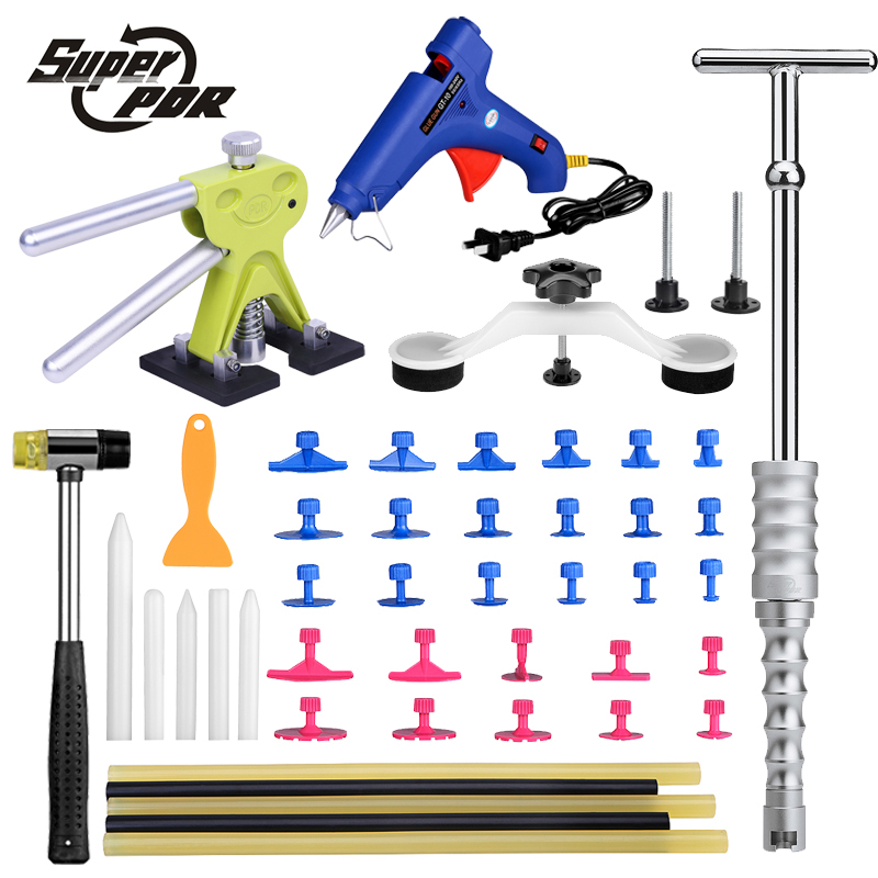 Super PDR Car Paintless Dent Repair Tools kit T-bar dent lifter green dent puller pulling bridge set glue gun dent tabs  pdr rods kit with slider hammer dent lifter bridge puller set led line board glue stricks pro pulling tabs kit for pop a dent