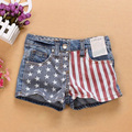 2016 New Baby Girls Shorts Jeans Summer Fashion Flag Design Cotton Clothes Toddler Girl Clothing Denim Kids Shorts for Girls