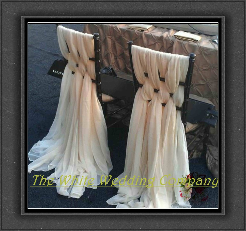 20pcs Ivory Ice Silk Chair Sashes Chair Cover Ups For