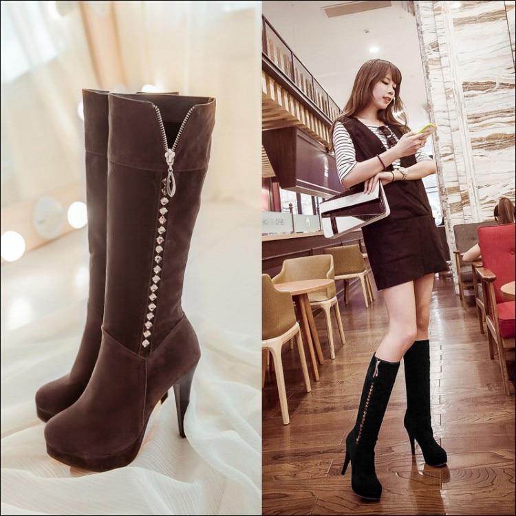 ФОТО 2016 rhinestone sexy high-leg boots green customize small 31 - 33 plus size 40 - 43 boots free shipping