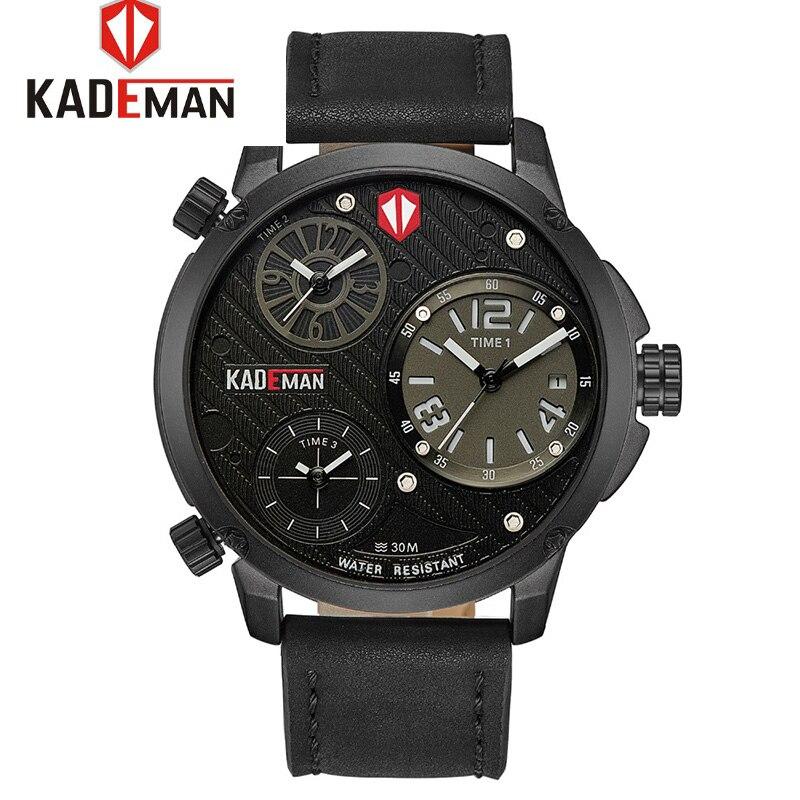 2018 Relogio Masculino Big Men's Quartz Watch Luxury Brand Sports Analog 3 Time zones Men Watches Business Wristwatches KADEMAN