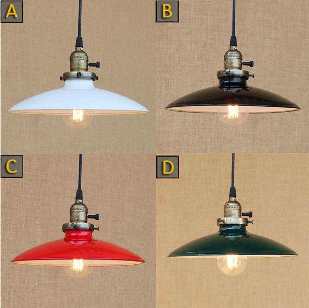 Beautiful Loft Retro Industrial Iron Vintage Hanging Light Knob Switch Lustre Pendant  Lamp Fixture Black White Green Design