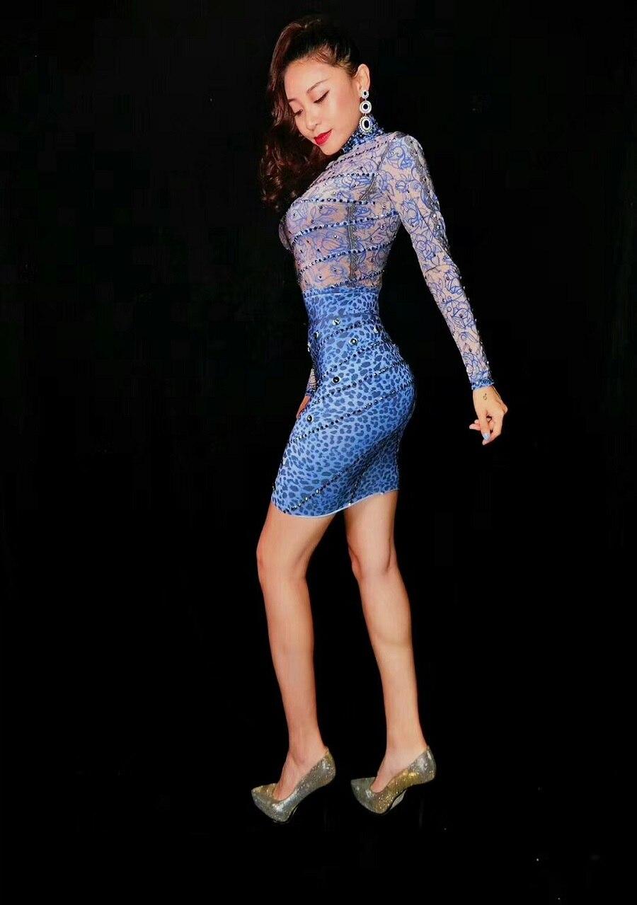 Cristaux Femmes Sexy Imprimé Robe Europe Floral Robes Gaine Bleu Glisten Vintage Longues Stretch Manches Mode Partie Mini De Défilé À qaUvUft