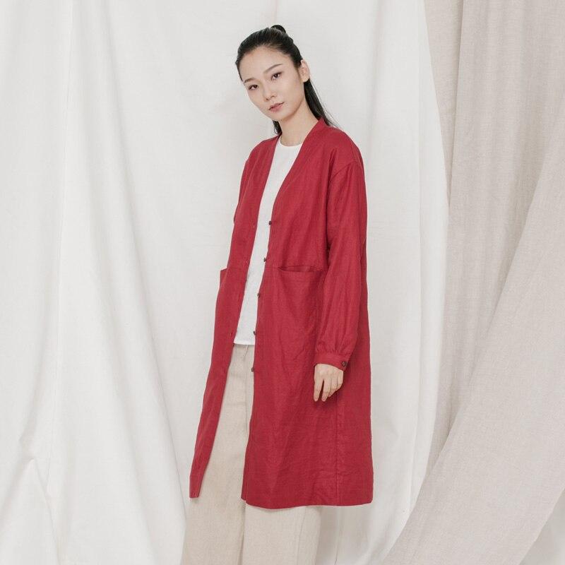 Harajuku Femmes Solaire Grand Zen Ramie Style Oversize Chemisiers Thé Grande Chemise Taille Pour w0671qB