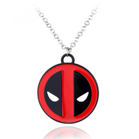 2016 New Dead Pool Necklace High Quality Anime Superhero Deadpool Mask Red With Black Pendant  alloy necklace chain pendant