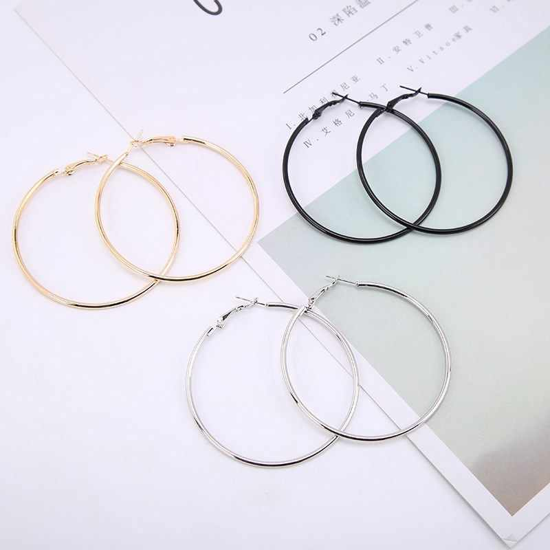 1Pair Fashion Women Girl Trendy Large Hoop Earrings Big Smooth Circle Earrings Brand Loop Earrings Jewelry