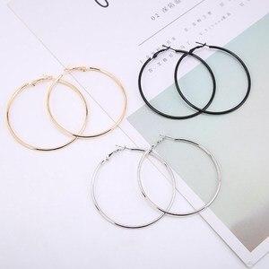 1Pair Fashion Women Girl Trendy Large Hoop Earrings Big Smooth Circle Earrings Brand Loop Earrings Jewelry(China)