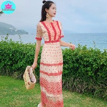 2019 summer new ladies temperament sweet lace wave point long round neck embroidery pattern dress female