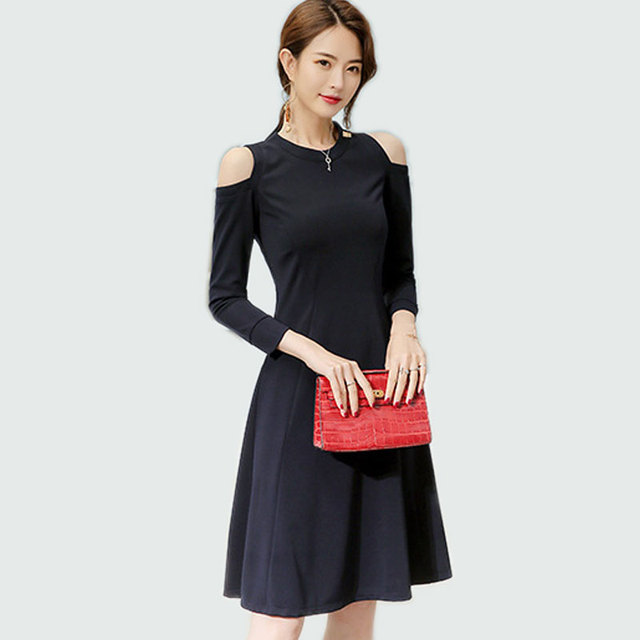 9c5e82689c1 Womens Elegant Vintage 2018 Spring Summer Work Office Casual Strapless Long  Sleeves Party A Line Skater Navy Blue Bottom Dress