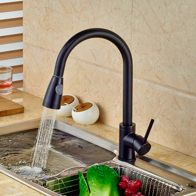 Luxury Pull Down Spout Single Lever One Hole Kitchen Faucet Oil Rubbed Broze Finish Deck Mounted