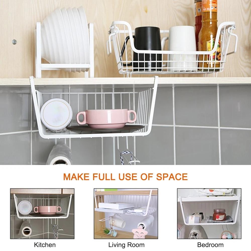 hanging basket under shelf hanging metal wire storage basket with hook for kitchen office pantry bathroom cabinet space saver
