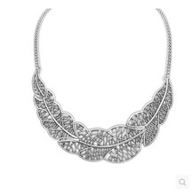 Hot Collier Femme Women Statement Collar Chain Zinc Alloy Pendant Necklace jewelry Wholesale Silver Leaves Choker Colar Women