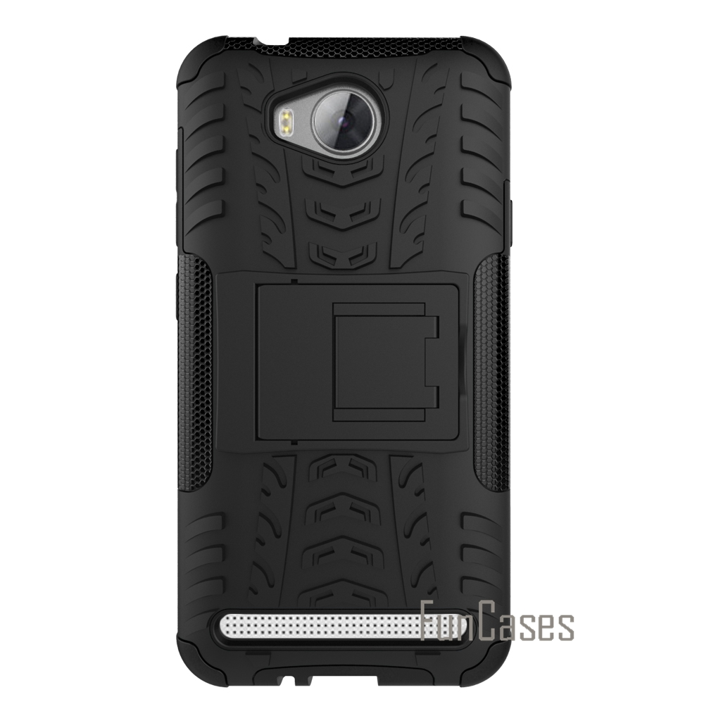 For Huawei Y3 2 / Y3II / Y3 II PC + Silicone Dual Layer Rugged Combo Military 3D Case For HUAWEI Y3 II Kickstand Cover Shell cas
