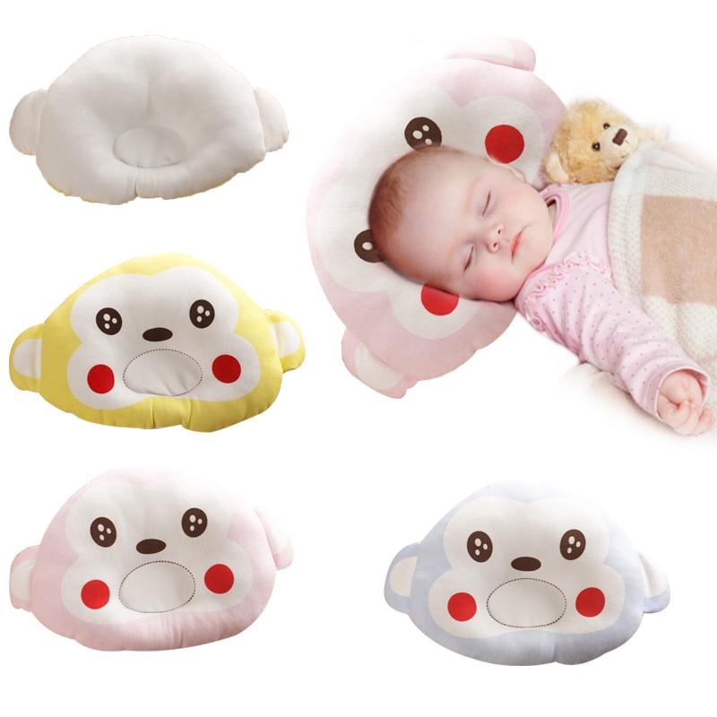 Baby Boy Girl Pillows Cute Cartoon Happy Face Newborn Pillow Kid Support Shape Soft Velvet Cotton Memory Pillow Sleep Bedding
