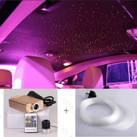 Free shipping 12V DC led car roof light with fiber optic 0.75 1 1.5mm color change remote control