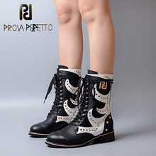 Prova Perfetto Mixed Color Rivets Studded Women Short Martin Boot Square Low Heel Boots Genuine Leather Lace Up Winter Boots