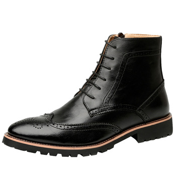 British style design men vintage punk nightclub dress carving bullock ankle boots soft leather boot pointed toe brogue shoes man