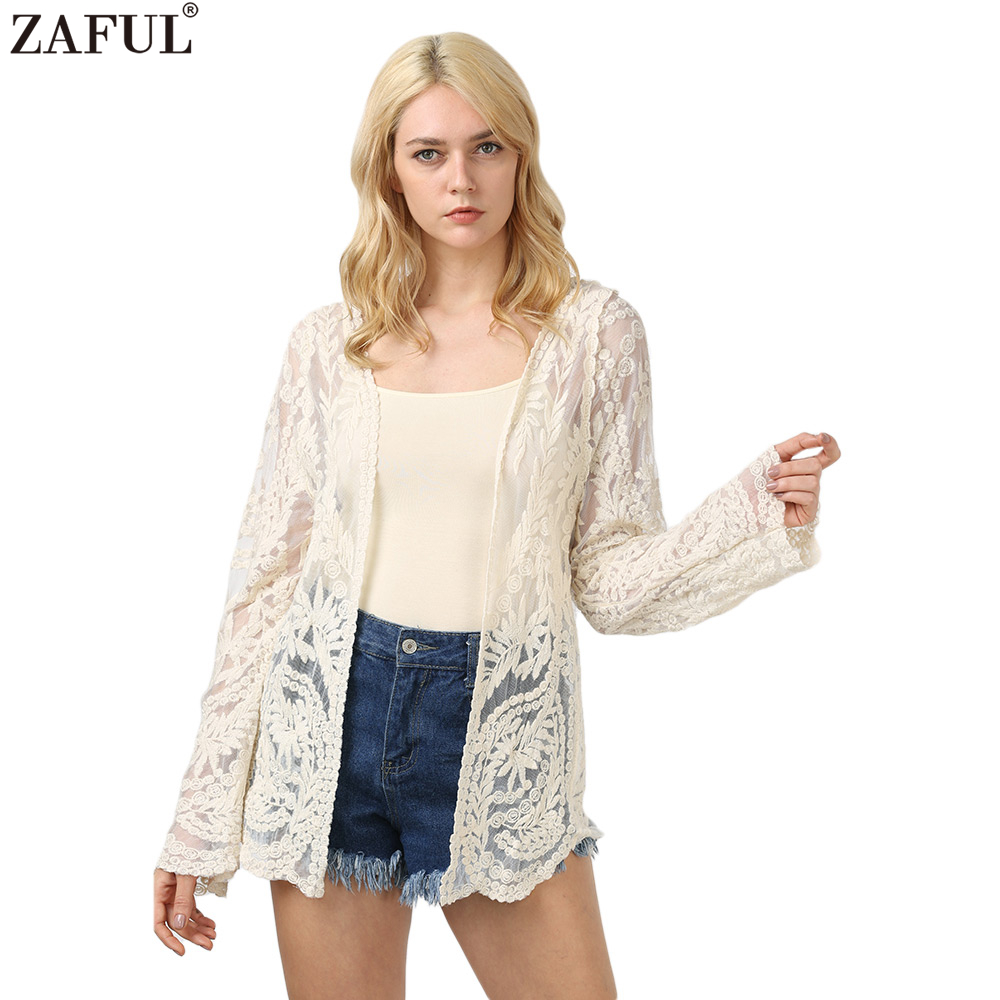 Long lace cardigan - Zaful Women White Lace Crochet Cardigans Hollow Out Long Sleeves Open Stitch Blouses Casual Feminino Blusas