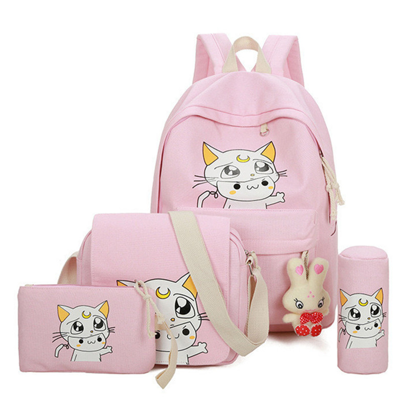 4Pcs/set women backpack schoolbag korean rucksack cute school bags for teenager girls student bag set canvas backpacks yasicaidi 4pcs women canvas backpack cute cartoonprinting backpacks school backpack for teenager girl casual travel bag rucksack