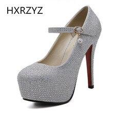 Brand HXRZYZ spring/autumn fashion bling crystal platform 13.5cm super High Heels Buckle Ankle Strap thin heel Pumps Women Shoes