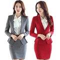 Formal para mujer de la oficina traje de falda 2016 la oficina uniforme diseños mujeres trajes de negocios elegante faldas trajes chaqueta con sistemas de la falda