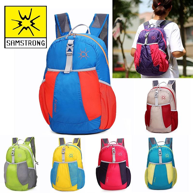 Folding Bag Foldable Lightweight Backpack Zipper Soild Skin Backpack Daily Traveling Women Men Shoulder Climbing Bags