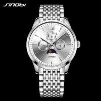 Sinobi luxury Men Business Watch Full Stainless Steel Calendar Quartz Men's Geneva Wristwatch Rolexable Japan Movement Watches