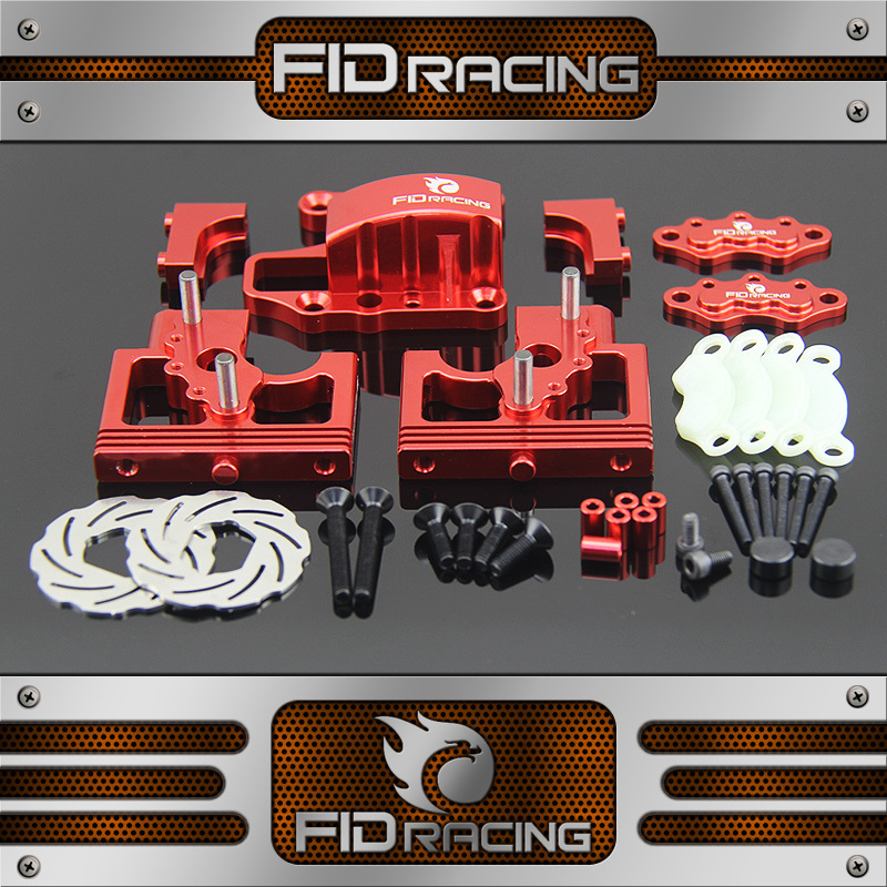 FID Racing LOSI DBXL Alloy centra diff mount Adjustable Calipers Version silver and red Team Losi