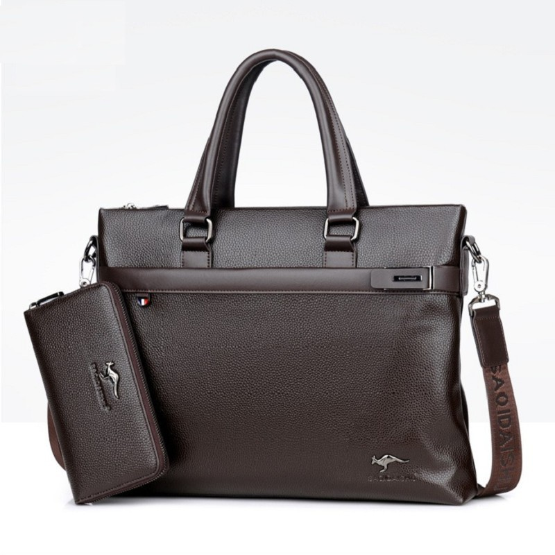 Men Briefcases Pole Business Bag Travel Quality PU Formal Work Handbags  Large Capacity Handbag Male Crossbody Messenger