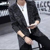 2016 New Fashion Mens Sweaters Hooded Knitted Cardigan Jacket Long Coat Vintage Man Korean Slim Fit